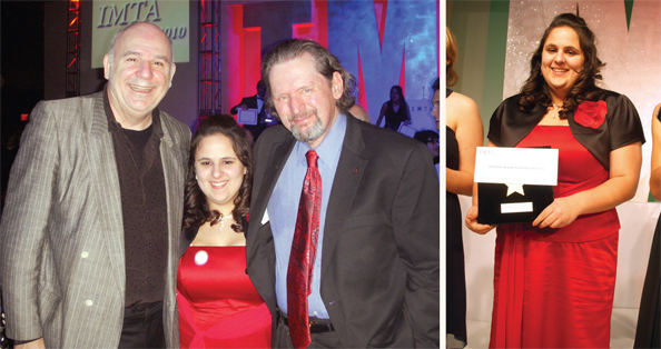 Modeling school and agency owner Charles Nemes with scholarship recipient Crystal Varelis