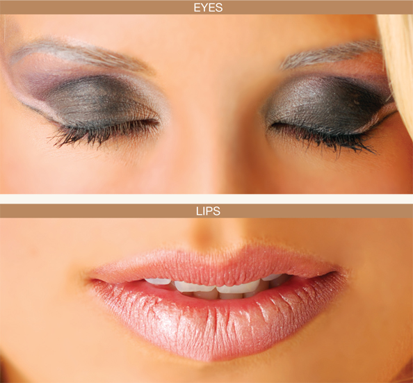 Close up of eyes and lips for fall 2010 makeup season