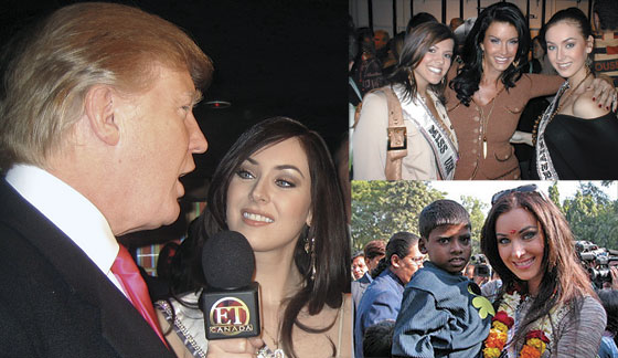 KEEPING UP APPEARANCES: (Above) Natalie interviews Miss Universe co-owner Donald Trump on behalf of Entertainment Tonight Canada on the red carpet at the launch party for Mr. Trump's latest venture, a travel web site. (Above right) Natalie visits with children from the Great Indian Dream Foundation in Delhi, whose mission is to provide education to disadvantaged children. (Above right-top) Natalie appears with fashion model Janice Dickinson and Miss USA 2005 Chelse Cooley at the Heatherettes fashion show during Fashion Week in New York City.