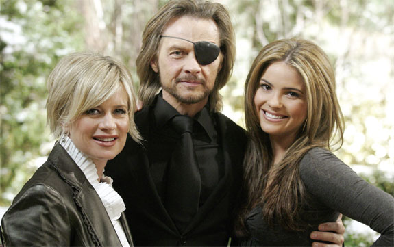 Shelley Hennig with costars, Mary Beth Evans and Stephen Nichols