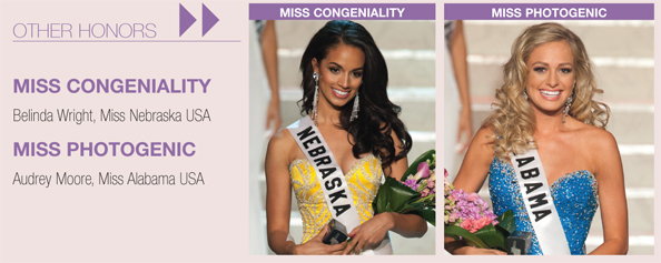 Other Honors and Awards from the Miss USA 2010 telecast