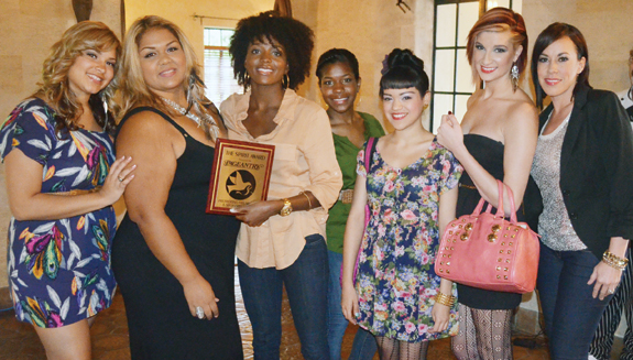 Team Aveda receives their Pageantry Spirit Award for their distinguished attention to detail in performing the hair and make up stylings for the Pageantry & PromTime photo shoot.