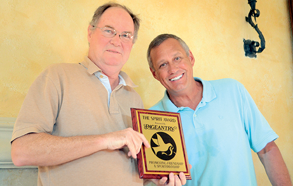 Ted West receives the Pageantry Spirit Award from Pageantry CEO Carl Dunn