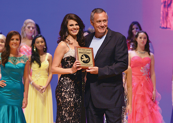 Breanna Scurry, UNM's Miss Palmetto State, was honored to receive the Pageantry Spirit Award
