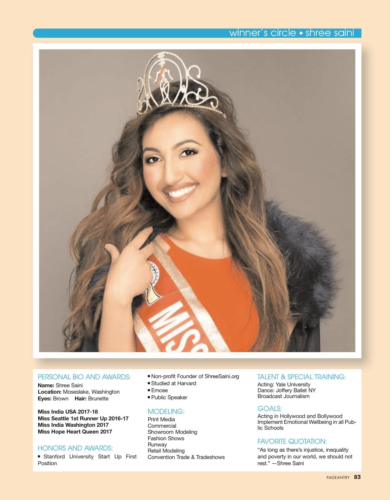 Shree Saini Pageantry magazine Winners Circle
