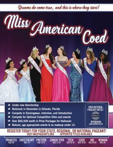 pageant, beauty pageant, national pageant, miss american coed pageant, scholarship pageant, pageants