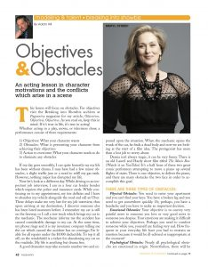 Breaking into Showbiz can be daunting, but the spring 2020 showbiz article will help you adress objectives and obstacles within your scene