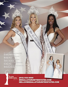 Miss All-Star United States Pageant crowns five titleholders during the national pageant. Beauty pageant titles include Pre-Teen Miss All-Star United States, Junior Miss All-Star United States, Ms. All-Star United States, Miss All-Star United States, and Miss Teen All-Star United States.