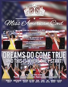 Miss American Coed is a national pageant cosnsiditog of eight age divisions competing for the titles of Miss Amwerican Coed and Miss Americ an Coed National Voctory.